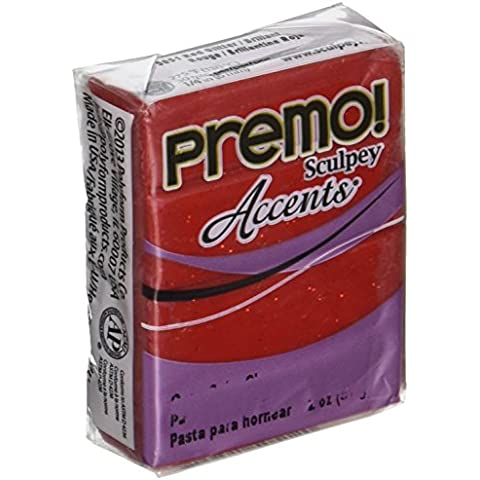 Premo Sculpey fimo 2 once-Red Glitter