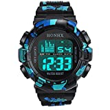 Uhr Herren Digital Mumuj Jungen Edelstahl LED Digital Uhren Datum Alarm Wasserdicht Sport Armbanduhren Army Quartz Uhr Outdoor Travel Lange Lebensdauer Batterie (Schwarz Blau)