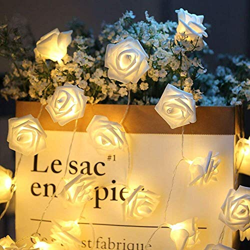 ELINKUME® LED Rosen Lichterkette mit 20er Blumen, 2.5M/8,2 Füße Batteriebetrieben, Warmweiß Rosenblütenkette Romantische Atmosphäre Dekoration -