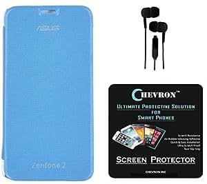 Chevron Flip Cover Case with Chevron HD Screen Guard & 3.5mm Stereo Earphones for Asus Zenfone 2 ZE551ML