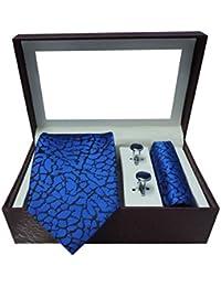 Riyasat - Self Design Blue Color Micro Fibre Men,s Tie, Cufflink and Pocket Square Gift Set .(S_091)