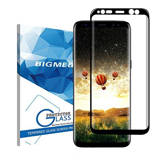 Samsung Galaxy S8 Protector de Pantalla,BIGMEDA Vidrio Templado Cobertura Completa Anti-Scratch Reutilizable Cristal Película Protectora para Samsung Galaxy S8 Negro