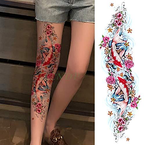 te tatoo Tattoo Aufkleber karpfen fisch blume voller arm gefälschte tatto flash tatoo hülse große größe für mädchen männer frauen dame ()