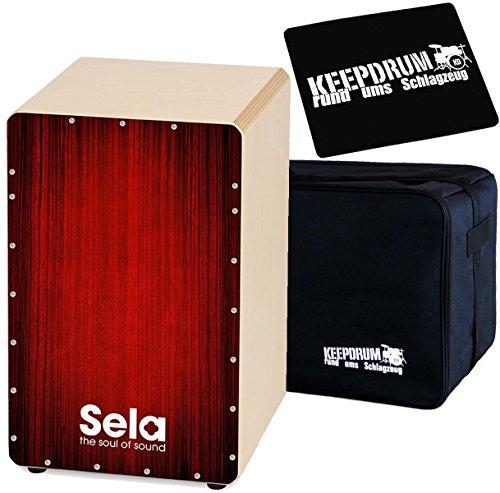 Sela SE050 Varios Red Cajon + KEEPDRUM Tasche + Sitzpad