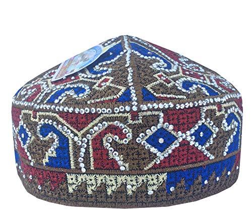 K_Caps Eid Special Pakistani Sufi Gebetsmütze Herren Koofi Kufi Gebetsmütze handgefertigt Gr. 57 cm, Mehendi Diamond -
