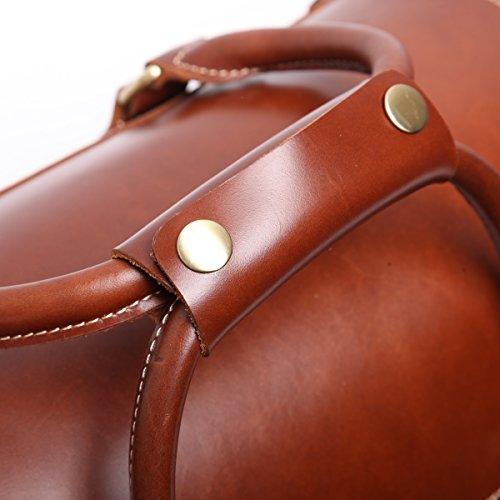 Leathario Herren Echtleder Ledertasche Handgepäck Reisetasche Freizeittasche Vintage Retro Braun Braun