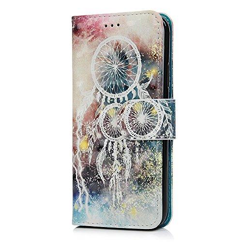 Lanveni Handyhülle für iPhone X Flip Case Cover PU Lederhülle Schutzhülle Magnetverschluss Ledertasche mit Stander Function Brieftasche Card Slot Handy Tasche mit Bunte Gemalt Design (1 x Traumfänger  Traumfänger