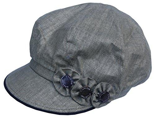 lonmütze Blumen Applikation Bakerboy Mütze Chemo Cap Vintage A08 (Oliv Grün, M/L) ()