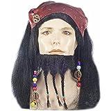 MyPartyShirt - Peluca y barba, diseño Capitán Jack Sparrow de Piratas del Caribe