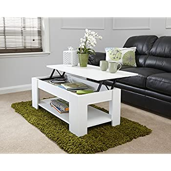 MODERN CONTEMPORARY EXCLUSIVE WHITE LIFT UP COFFEE TABLE LIVING ROOM CENTRE LARGE STORAGE AREA UNDER SHELF