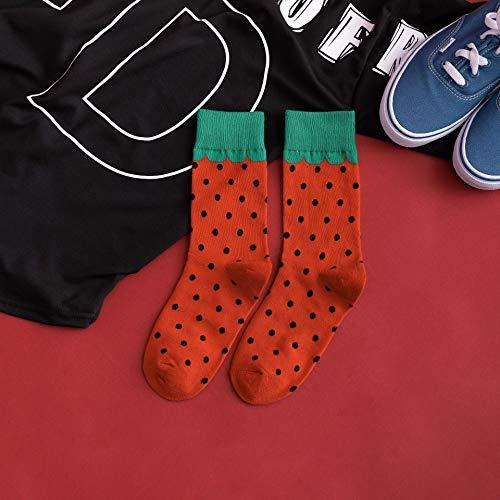 SIHIELOA 3 Paar Socken Herbst und Winter Neue Gezeiten Socken Bunte Wassermelone Obst Socken Paar lässig aus der Straße Baumwollsocken Strümpfe Paare Code rote Erdbeere