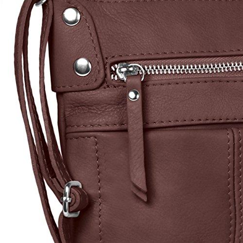 ... CASPAR Damen Ledertasche   Umhängetasche   Messenger Bag mit vielen  Fächern aus weichem italienischem Leder - 673fcf64f1