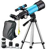 Moutec Enfant télescope 70mm Apeture Travel Scope 400mm AZ Mount - avec trépied et Finder Scope - Parfait pour Les Enfants et Les débutants Voir Lune et Planète (70400)