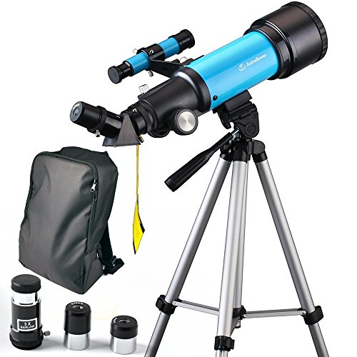 Moutec Kind Teleskop 70mm Apeture Travel Scope 400mm AZ Halterung - mit Stativ & Finder Scope - Ideal für Kinder und Anfänger pädagogische und Geschenk- Zeige Mond und Planet (70400)