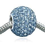 MATERIA Kristall Beads blau XXL Element 12x16mm - 925 Silber Kettenanhänger Kugel Strass #1081