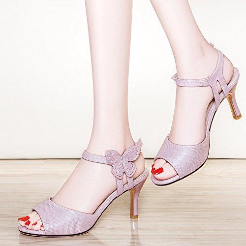 XY&GKSandalen Frauen im Sommer Heel Sandalen Fisch Mund Sandalen Bögen Buttons Sandalen Sandalen aus Leder, komfortabel und schön 37 Pink