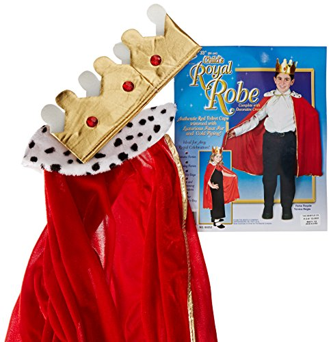 Beistle 60252 Kind King/Queen Bademantel mit Krone, 84 cm (Red Robe Kind Kings)