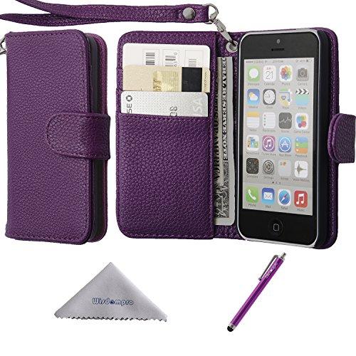 iPhone 5c Hülle, Wisdompro® Premium PU-Leder 2-in-1 [Flip Folio] Schutzhülle mit Mehreren Kreditkartenhaltern / Steckfächern und Handgelenkschlaufe für Apple iPhone 5c (Hot Pink) Lila mit Trageschlaufe