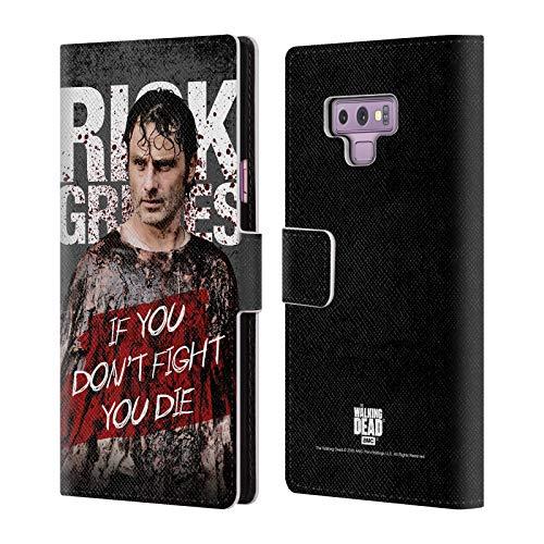Head Case Designs Offizielle AMC The Walking Dead Blutiger Poncho Rick Grimes Erbschaft Leder Brieftaschen Huelle kompatibel mit Samsung Galaxy Note9 / Note 9 Design Poncho