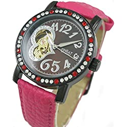 FINEAT Lederband der Dame Diamanten Kleid self-wind Automatische Mechanische Armbanduhr