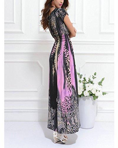 SaiDeng Femme Élégant Imprimé Léopard V-cou Taille Empire Longue Robe De Plage Rose