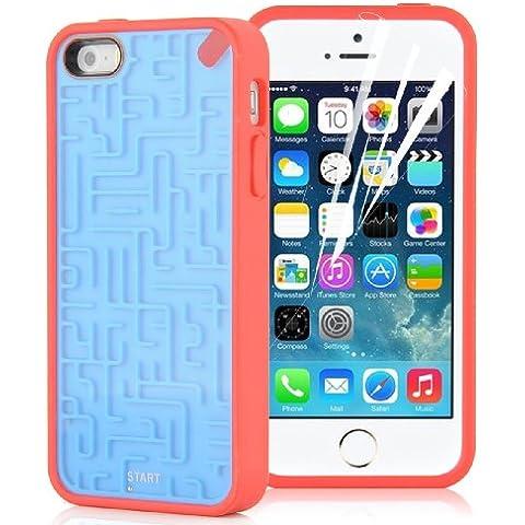 JAMMYLIZARD | Carcasa De Silicona Para iPhone 5/5s y iPhone SE Laberinto Retro Game, AZUL / ROJO