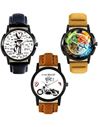 DLG New Combo Of Maa Printed In All Language And Bulta Printed And Panchbhut Printed In Round Dial Leather Belt...