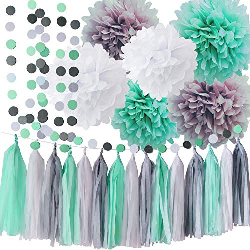 Minze Baby Shower Dekorationen/Mint Grau Weiß Elefant Baby Shower Supplies Tissue Papier Pom Pom Kreis Garland Quaste Garland Mint Bridal Shower Dekorationen/Mint grau Geburtstag Party Decor