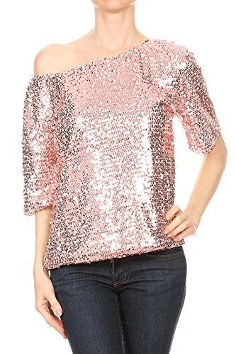 Damen T Shirt Longtop Oversize Schmetterling Pailletten Glitzer Fledermaus Top