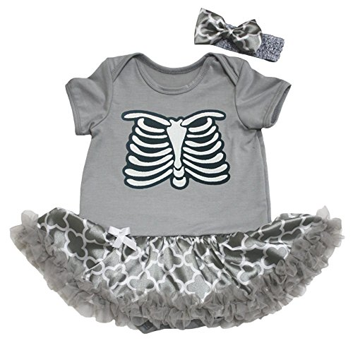 Petitebelle Halloween Dress Skeleton Grey Bodysuit Quatrefoil Tutu Baby Romper Set Nb-18m (3-6Monat) (Skeleton Bodysuit Kostüme)