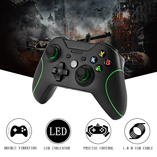 Xbox One Mando LESHP Controlador de Gamepad con cable USB Joystick para consola Xbox One PC Microsoft Windows