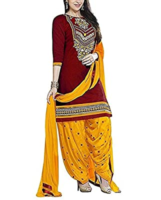 Shiroya Brothers Women's Ethnic Wear Pure Cotton Unstitched Regular Wear Salwar Suits Dress Material (SB_DM _5152_Red_Free Size) - Multi-Coloured Pattern Type: Embroidered | Collection Type: New Arrival