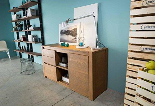 Legno&Design Como 'Anrichte Kommode Anrichte aus Massivholz mit 1Tür und 3Schubladen