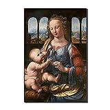 Five-Seller Madonna del Garofano di Leonardo da Vinci Quadri Dipinti Famosi Riproduzioni Artistiche Stampate su Tela Opere d'Arte di Parete per Decorazioni per La Casa (60_x_90_cm)