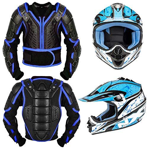 Kinder Motorrad Körperschutz - Rüstung kostüm Motorrad Gear Armors Motocross Bikes Schutz mit Motorrad Helm Kinder Vollgesichtsschutz e Jacke - Jahr 10 (Motocross Kostüm Kinder)