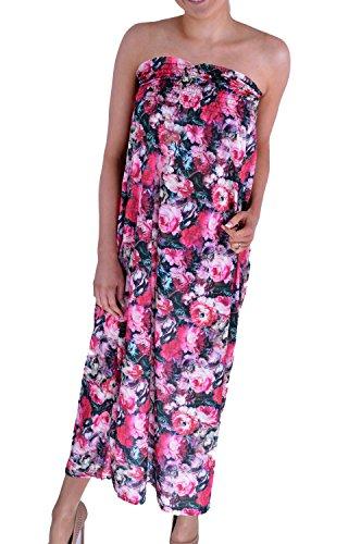 Fast Fashion Damen Blumendruck Boobtube Sheering Maxi-Kleid Rosa grün