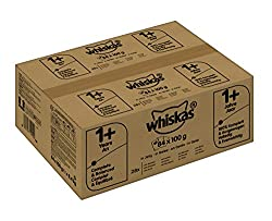 Whiskas Katzen-/Nassfutter Fisch- und Geflügelauswahl in Gelee, Adult 1+, Huhn, Thunfisch, Lachs (84 x 100g)