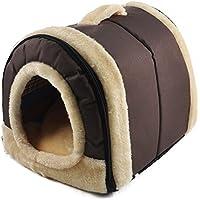 ANPI 2 en 1 Casa y Sofá para Mascotas, Marron Lavable a Máquina Casa Nido Cueva Cama de Perro Gato Puppy Conejo Mascota Antideslizante Plegable Suave Calentar Con Cojín Extraíble, Pequeño