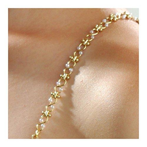 BH-Schmuckträger (PERLEN) gold von Coriko 15,5+32 cm - Perlen-bh