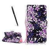 OnlyCase Meizu Pro 6 Plus Hülle Handyhülle Schutzhülle, Flip PU Leder Fall gemaltes Muster Case magnetischen Verschluss Ständer Kartenhalter, Orchidee