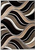 TAPISO Sumatra Tappeto Salotto Moderno Soggiorno Motivo Onde Ondato Astratto Marrone Scuro Beige 160 x 220 cm