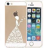 JIAXIUFEN Henna Beautiful Butterfly Girl Plastik Schutzhülle Case Cover Schale Fall Tasche Hülle für Apple iPhone 5S 5G 5 IPhone5 IPhone5S Apple5S Hülle Handytasche HandyHülle Etui Schale