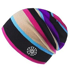 Botack Winter Beanie Mütze Warme Regenbogen Strickmütze für Wandern Laufen Radfahren Herren und Damen