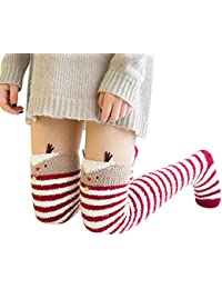 fc5ea2dc20614 Cebbay Chaussettes Femme Socquettes,Noël Imprimé Socks,Hive Épais Lourd  Chaud Chaud Plancher Flou