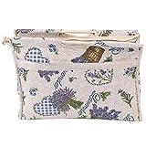 GLOGLOW 1 stück Stricken Einkaufstasche, Praktische Holzgriff Gewebe Aufbewahrungstasche Tragbare Stricknadeln Nähen Tasche für Garn Stränge(Blaue Blume)