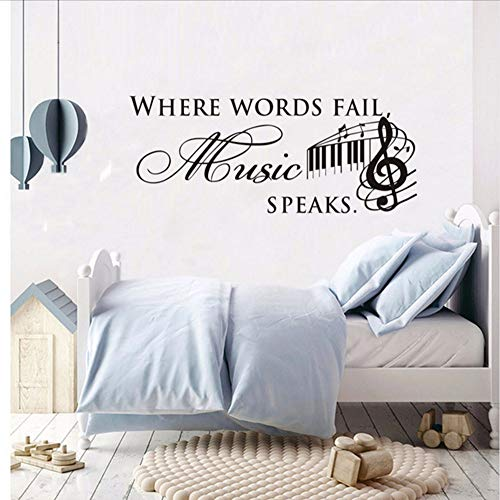 Txyang Where Words Fail Music Speaks Quotes Wall Sticker For Kids Room Musical Notes Removable Art Vinyl Decal Home Decor Stickers 103 * 42.Cm