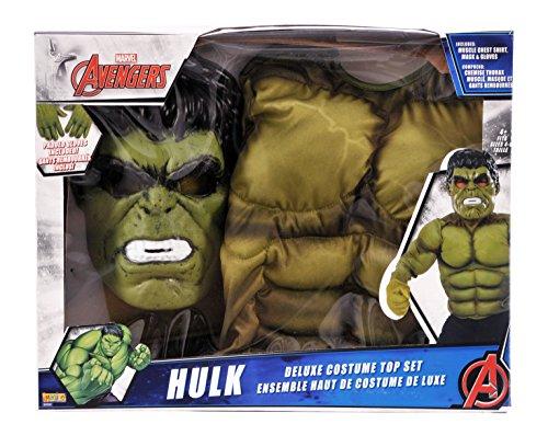 Avengers - Disfraz infantil Hulk con pecho, mascara y guantes, en caja, M (Rubie's Spain 34101)