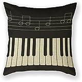 abartonartsale teclado concepto musical Piano 18x 18pulgadas Algodón Lino manta decorativa Funda de almohada cojín para sofá cama Z93