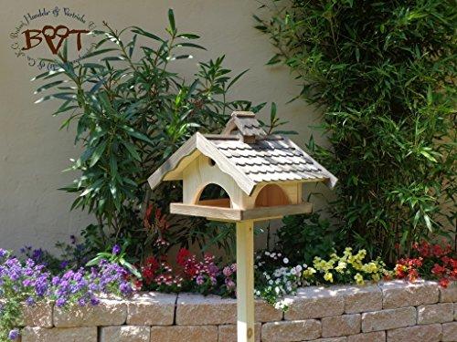 PREMIUM Vogelhaus XXL,MIT Nistkasten,K-BEL-VONI5-LOTUS-LEFA-at001 NEU! MASSIVES GANZJAHRES PREMIUM-Qualität,Vogelhaus,mit wasserabweisender LOTUS-BESCHICHTUNG + NISTKASTEN IN EINEM (VOLL FUNKTIONSFÄHIG mit Reinigungsvorrichtung) MIT großem SILO, Qualität Schreinerware 100% Massivholz - VOGELFUTTERHAUS MIT FUTTERSCHACHT-Futtersilo Futterstation Farbe schwarz lasiert, anthrazit / Holz natur, Ausführung Naturholz MIT TIEFEM WETTERSCHUTZ-DACH für trockenes Futter