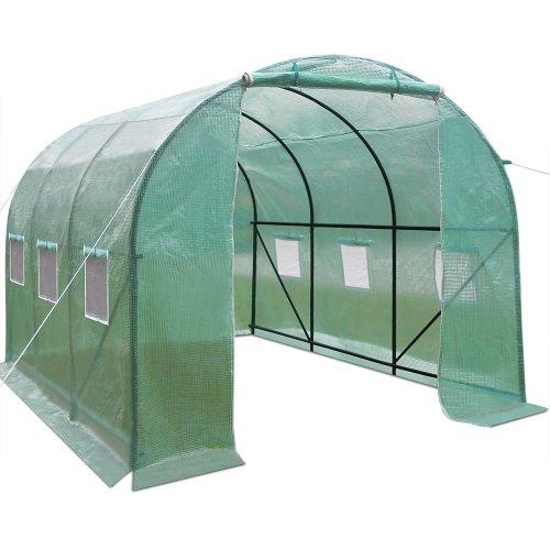 Gewächshaus 7m² Foliengewächshaus Treibhaus Tomatenhaus PE-Gitterfolie 140g/m² ✔ stabiler Metallrahmen ✔ 6 Fenster ✔ Fliegennetz ✔ 14m³ ✔ Modellauswahl